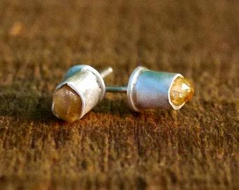 Citrine Earrings, Rough Citrine, Raw Citrine Earrings, Silver Earrings, Rough Gemstone Earrings, Natural Citrine, November Birthstone