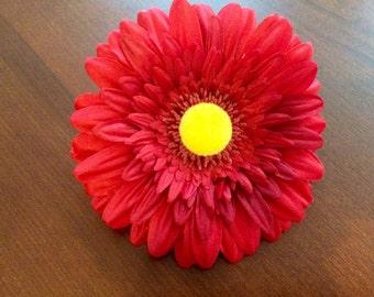 RED FLOWER BARRETTE handmade