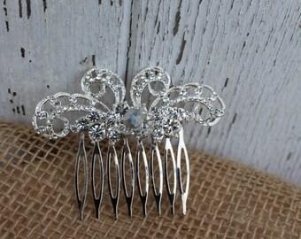 Silver and Rhinestone Bridal Comb/ Wedding Comb/ Hair Comb