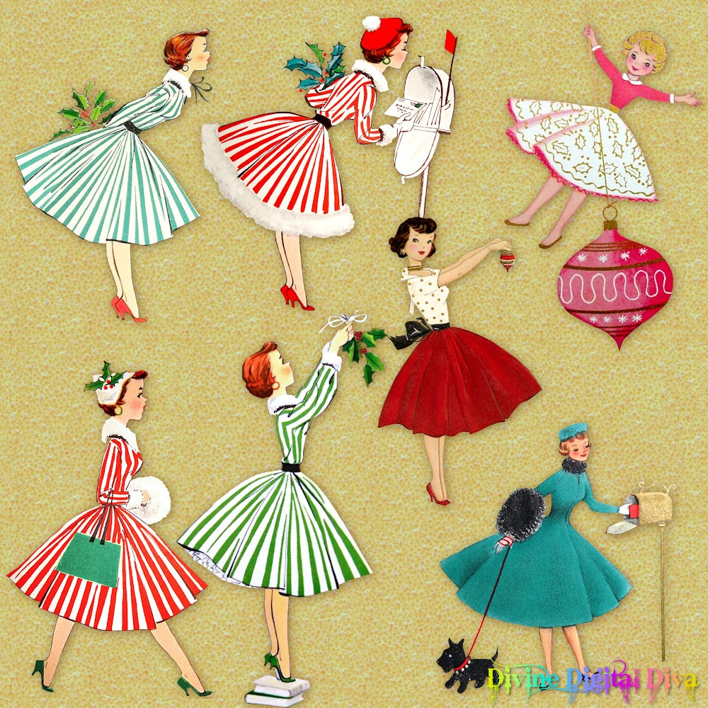 1950s Retro Christmas Housewives | Vintage Holiday Ladies ...