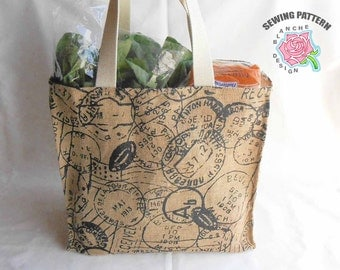 Reusable Grocery Bag Sewing Pattern, Reusable Shopping Bag Pattern, Foldable Market Tote PDF, Tote Bag PDF Pattern with or without a Lining