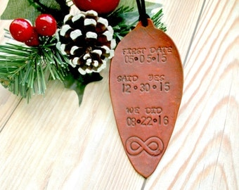Personalized First Christmas Ornament Married ~ First Christmas as Mr and Mrs ~ Hand Stamped Leather Christmas ~ Infinity First Christmas