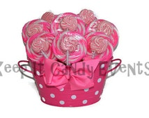 Pink lollipop arrangement, pink candy arrangement, pink candy buffet, pink, candy, lollipop, baby shower, its a girl, baby girl, sweet 16