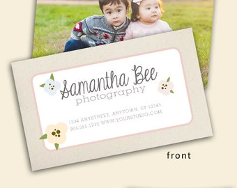 Floral Business Card Template - Photography Template - Photoshop Template - Instant Download