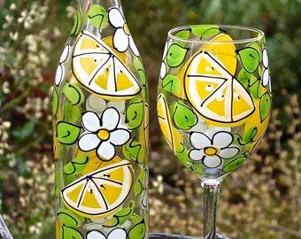 Lemon Slice Glass Bottle with Stopper - Hand Painted Glassware