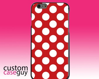 Hard Snap-On Case for Apple 5 5S SE 6 6S 7 Plus - CUSTOM Monogram - Any Colors - White & Red Polka Dots