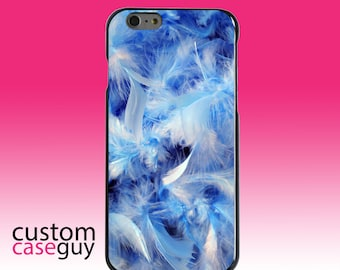 Hard Snap-On Case for Apple 5 5S SE 6 6S 7 Plus - CUSTOM Monogram - Any Colors - Blue Feathers