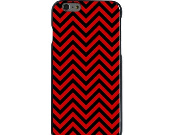 Hard Snap-On Case for Apple 5 5S SE 6 6S 7 Plus - CUSTOM Monogram - Any Colors - North Carolina State Wolfpack Colors - Chevron Pattern