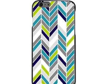 Hard Snap-On Case for Apple 5 5S SE 6 6S 7 Plus - CUSTOM Monogram - Any Colors - Teal Navy Grey Herringbone