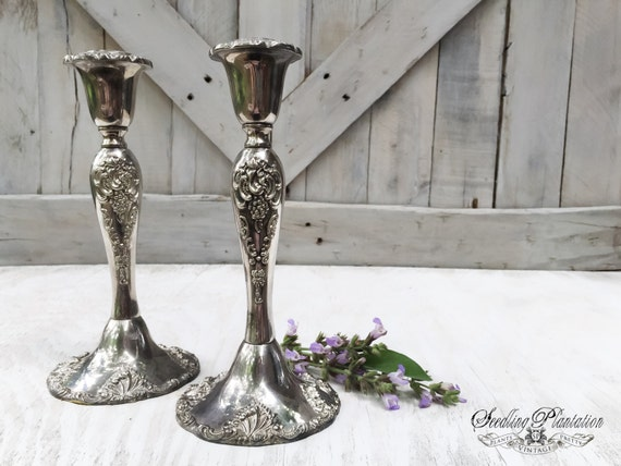 Vintage Silver Candle Holder, Set of Candle Holders, Vintage Silver, Home Decor, Silver Home Decor, Candlestick, French,Country, Shabby Chic