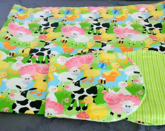 Farm Animals Cow Ducks with Green Striped Backing Hemstitched Baby Blanket and Burps ready for you to crochet by Lindas Hemstitching