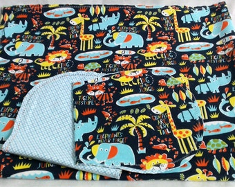 Safari Animals Tigers Elephants with Blue Backing Hemstitched Baby Blanket and Burps ready for you to crochet by Lindas Hemstitching