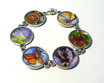 Butterfly Dragonfly Bracelet Canadian Postage Stamp Eco-design Insect Nature Jewelry