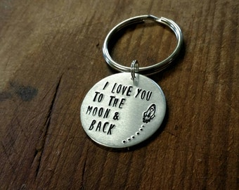 Metal Stamped Key Chain I Love You to the Moon & Back Rocket Christmas Birthday Mother's day Baby Shower Wedding Anniversary Valentines Gift