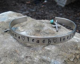 Teacher Gift, Teacher Custom Cuff Bracelet , Hand Stamped Bracelet, Hand Stamped Teacher, Personalized Jewelry
