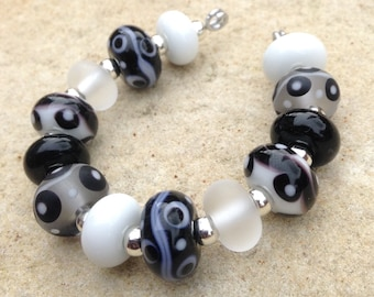 Black and White Spots & Stripes Lampwork Glass Bead Set