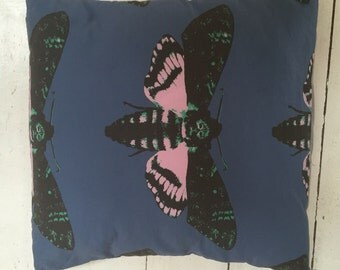 Moth fabric cushion from Candyland Studios, featuring the Deathshead moth design.