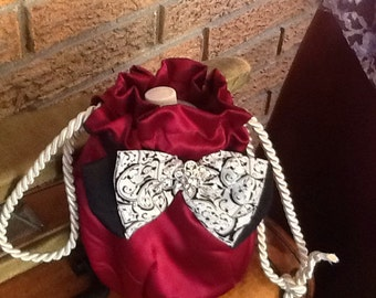 Maroon Satin Drawstring Purse