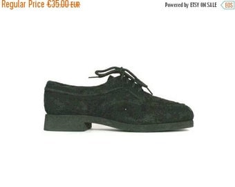 Vintage Low Ankle Tie Suede Shoes // Esny // Size 6.5 US / 4 UK / 37 EU