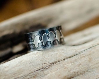 silver ring massif bird, etched, cute, poetic, ring a stack