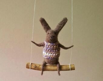 Brown Gray Bunny on Swing, Needle Felted Animal, Nursery Decor, Baby Crib Mobile, Bunny Mobile, Dark Grey bunny on swing
