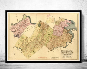 Old Map of Dorchester Boston 1899