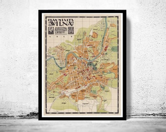 Old Map of Vilnius Lithuania