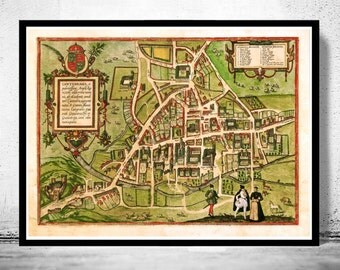 Old Map of Cambridge 1572, England United Kingdom