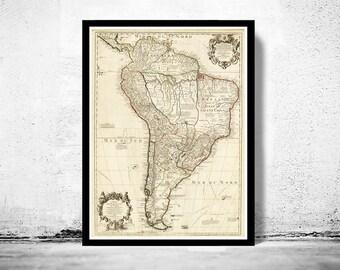 Old Map South America Brasil Venezuela Peru Argentina Chile 1708
