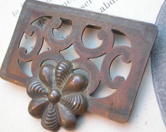French 19th century antique Bronze Belt Buckle engraved snake bronze old buckle  bronze  button