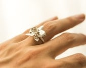 Orchid Ring- Flower Jewelry in Silver, Brass, or Bronze