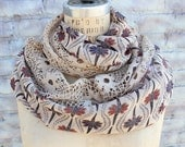 Cute infinity   chiffon scarf with lace