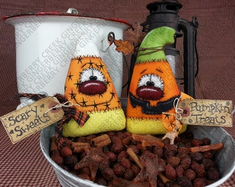 E-Pattern - Scary Sweets and Pumpkin Treats Pattern #158 - Primitive Doll E-Pattern - Halloween - Candy Corn - Pumpkin