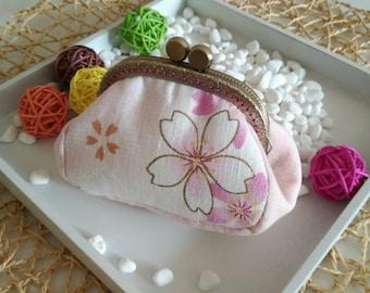 Pink sakura,85mm Metal Frame Clip Purse, Coin Purse,  linen fabric cotton,bowknot,Small clutch