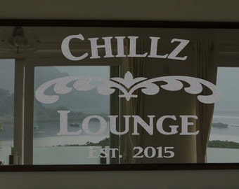 """Custom Family Lounge Frosted Etched Glass Vinyl Wall Quote Sticker Decal 22""""h x 28""""w- 40""""w"""