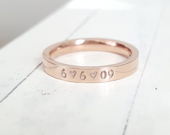 name ring 3 mm Date or name Ring Rose gold stainless steel comfort fit ring Anniversary Hand Stamped stacking ring Hand stamped jewelry