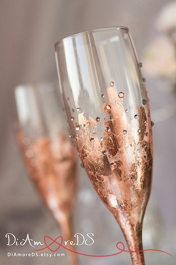 Rose Gold Wedding Toasting Flutes Personalized Wedding