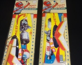 vintage dime store gliders with space theme graphics