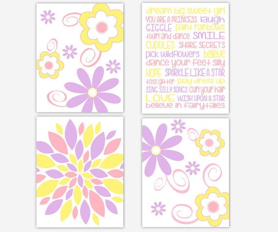 Girl Nursery Wall Art Lavender Pink Yellow Flower Burst Dream