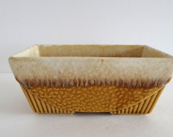 Planter Gold Vintage Drip Glaze USA #75