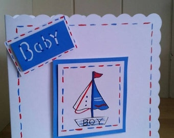 Nautical card,baby card, new baby, baby boy card, handmade, hand painted, new arrival, boats, baby card