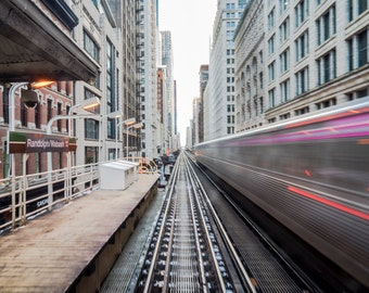 On Time III - Chicago - Cityscape - Street Photography - Fine Art - Elevated Train - Train Tracks - Chicago L - Long Exposure - Handmade
