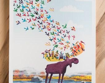 Moose Print/ Woodland Nursery /Kids Wall Art / Christmas Gift/ Kids Room Decor