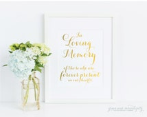 In Loving Memory sign - gold foil, wedding sign, bar sign, reception sign, custom sign, personalized sign, guest sign (m40) - C1