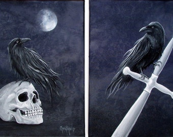 """Halloween Art , Limited Edition Prints ,Ravens """"The Knights Watchers"""""""