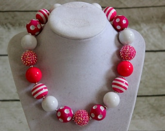 hot pink and white chunky bubblegum bead necklace birthday necklace for girls chunky bead necklace beaded necklace bubble gum photo prop