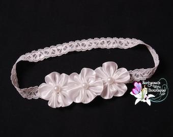 Trio White Satin Flower Pearl Lace Headband, Baby Headband, Flower Girl, Baptism, Christening, Newborn Preemie Headband - SB-121