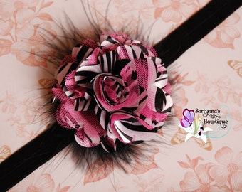 Pink Black Zebra Stripe Satin Tulle Flower Feather Headband, Animal Print, Baby Toddler Girl Woman - SB-078