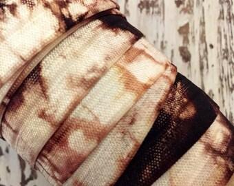 """Tie Dye FOE // 5/8"""" Chocolate-White Tie Dye Fold Over Elastic - Hair Ties - Headbands - Tie Dye Hair Ties"""