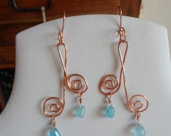 Copper Organic Blue Chalcedony Drop Earrings